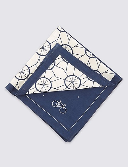 2 Pack Pure Cotton Anti-Bacterial Cycling Print Handkerchiefs