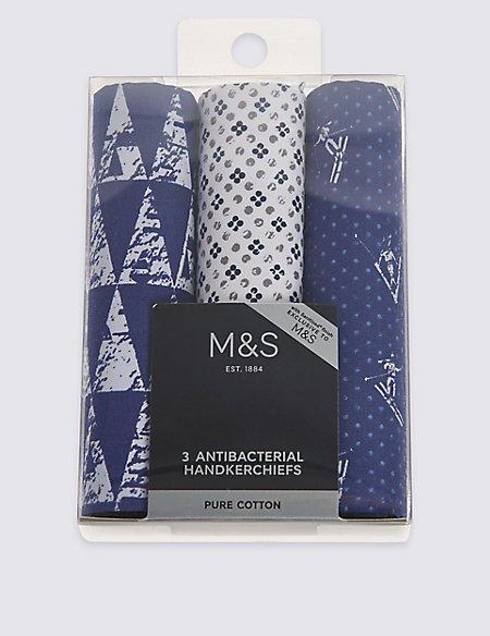 3 Pack Pure Cotton Assorted Handkerchiefs