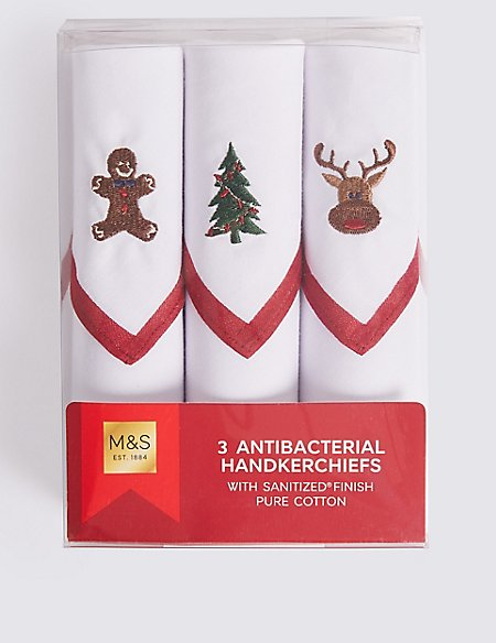3 Pack Pure Cotton Christmas Handkerchiefs