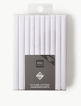 10 Pack Pure Cotton Handkerchiefs with Sanitized Finish®