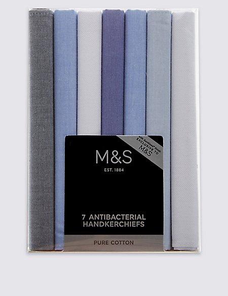7 Pack Pure Cotton Anti-Bacterial Handkerchiefs