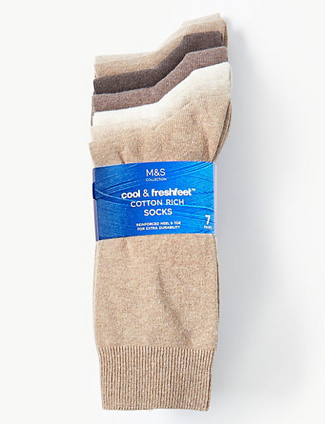 7 Pack Cotton Marl Cool & Fresh™ Socks