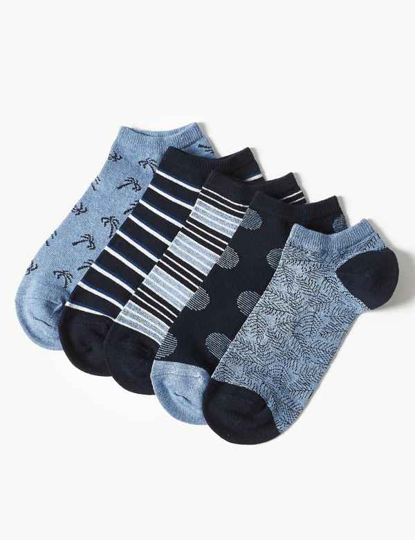 deeead362e13 5 Pack Cotton Rich Trainer Liner Socks