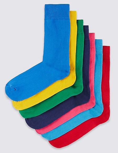 7 Pairs of Freshfeet™ Cotton Rich Stay Soft Socks with Silver Technology