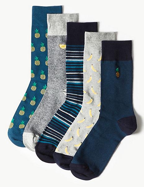 5 Pack Cool & Freshfeet™ Fruit Design Socks