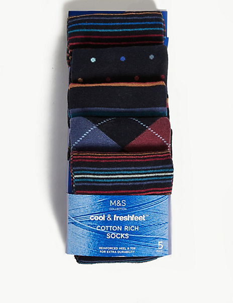 5 Pack Cotton Cool & Fresh™Socks