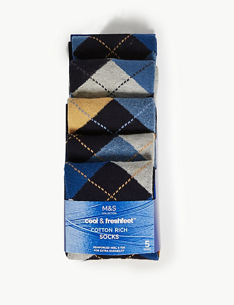 5 Pack Cotton Cool & Fresh™ Patterned Socks
