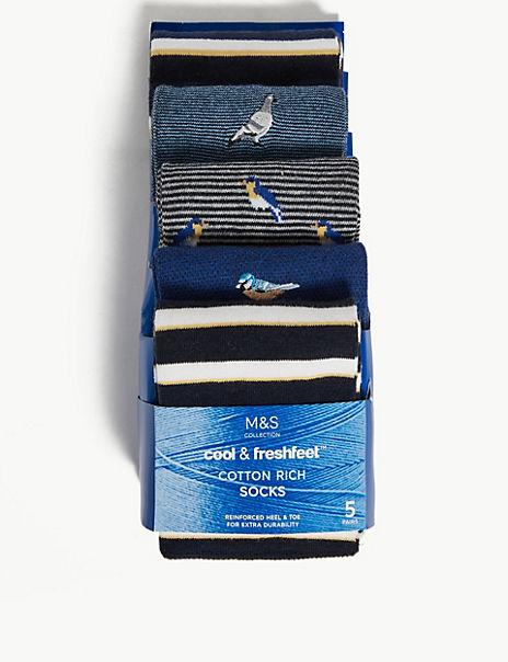 5 Pack Cotton Cool & Fresh™ Bird Socks
