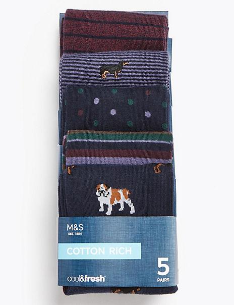 5 Pack Cotton Cool & Fresh™ Printed Socks