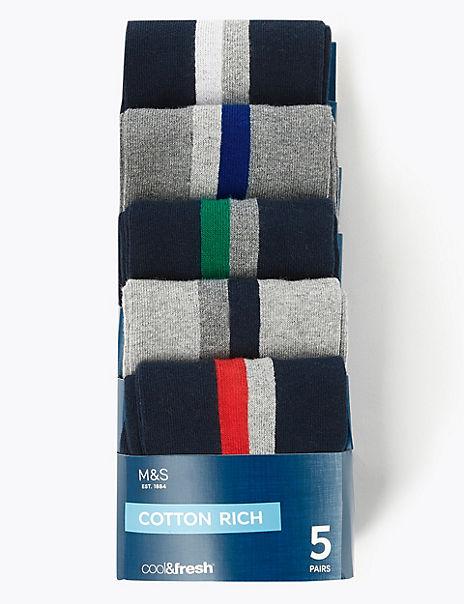 5 Pack Cotton Rich Cool & Fresh™ Striped Socks