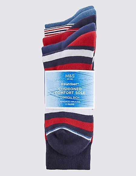 5 Pairs of Freshfeet™ Striped Cushioned Sole Socks