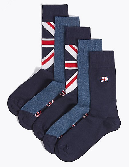 5 Pack Freshfeet™ Union Jack Design Socks