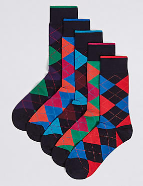 5 Pack Cool & Freshfeet™ Checked Socks