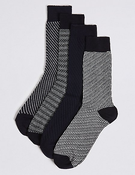 4 Pack Cotton Rich Textured Socks