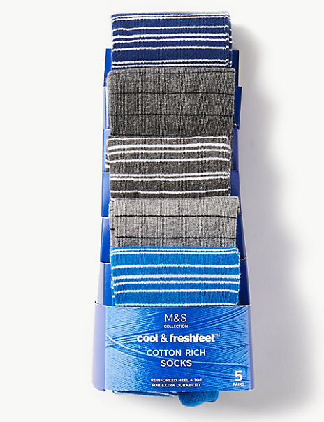 5 Pack Cool & Freshfeet™ Striped Socks
