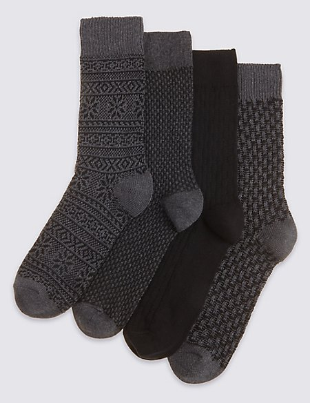4 Pairs of Freshfeet™ Cotton Rich Socks