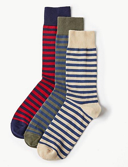 3 Pack Cool & Freshfeet™ Striped Socks