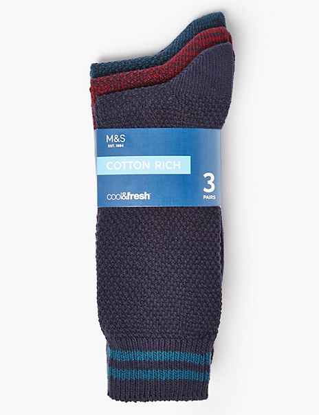 3 Pack Cotton Rich Cool & Fresh™ Socks