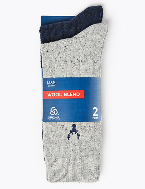 2 Pack Embroidered Stag Thermal Socks
