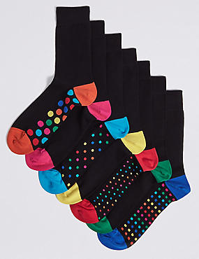 7 Pack Freshfeet™ Spotty Sole Socks