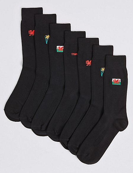 7 Pack Wales Design Freshfeet™ Socks