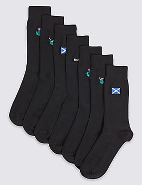 7 Pack Scotland Design Freshfeet™ Socks