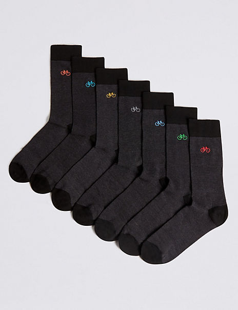 7 Pack Cool & Freshfeet™ Bicycle Design Socks