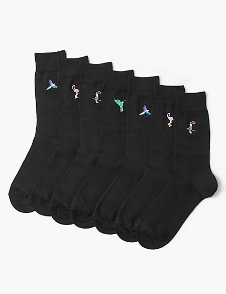 7 Pack Bird Embroidered Cotton Rich Socks
