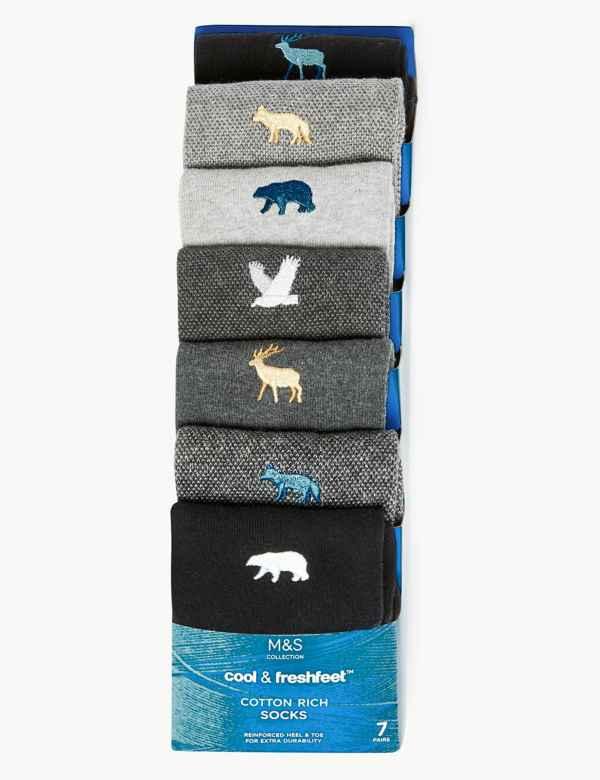 35e51c7484765 7 Pack Cool & Fresh™ Cotton Animal Socks. New