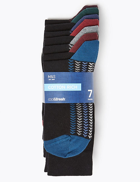 7 Pack Cool & Fresh™Arrow Pattern Socks
