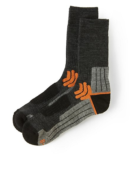 2 Pairs of Technical Walking Socks with Wool