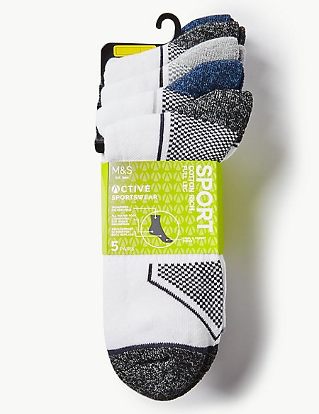 5 Pack Full Leg Cushioned Sports Socks