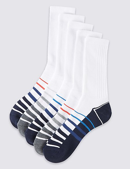 5 Pairs of Cotton Rich Full Length Sports Socks