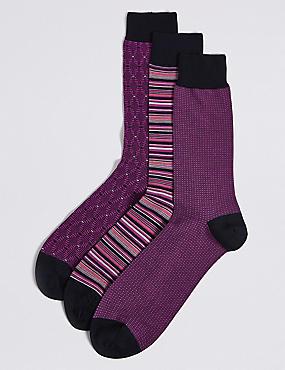 3 Pack Cotton Rich Multi Design Socks