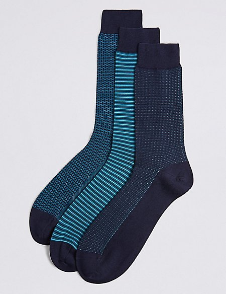 3 Pack Cotton Rich Assorted Socks