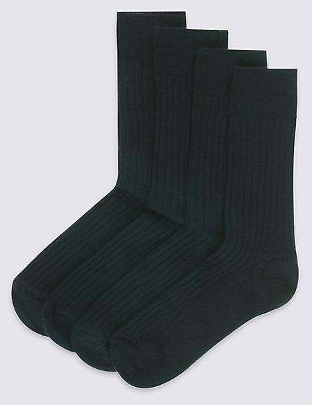4 Pack Lambswool Rich Socks
