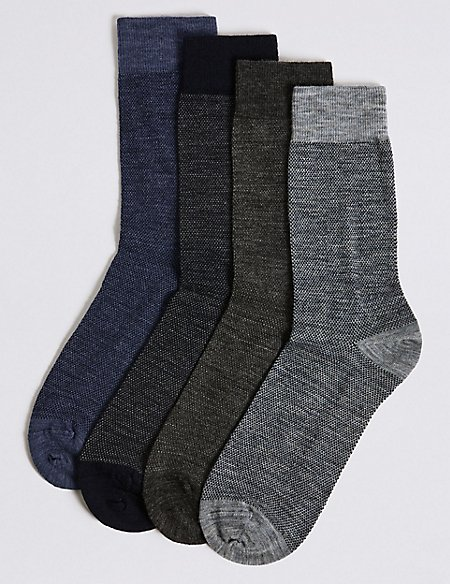 4 Pack Wool Rich Socks