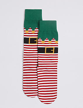 Cotton Rich Elf Christmas Socks