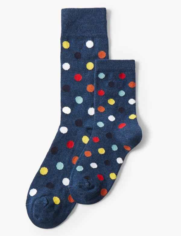 2d26bbf3e 2 Pack Mini Me Polka Dot Cotton Rich Socks. New
