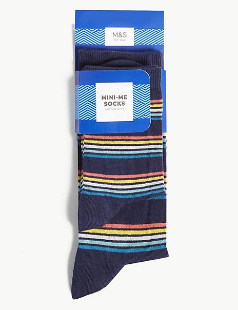 2 Pack Mini Me Striped Cotton Rich Socks