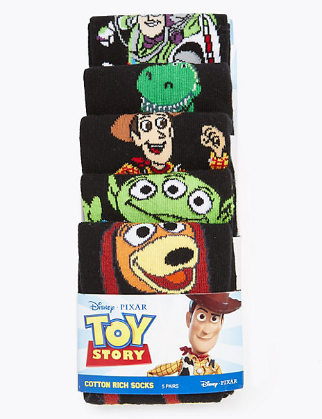 5 Pack Cotton Rich Toy Story™ Socks