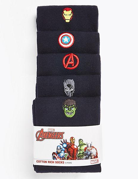 5 Pack Cotton Avengers™ Socks