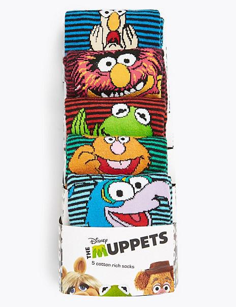 5 Pack Cotton Rich Muppets™ Socks
