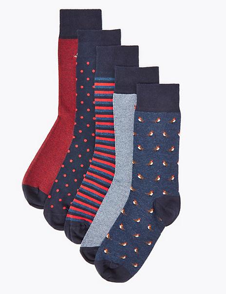 5 Pack Cotton Cool & Fresh™ Robin Socks