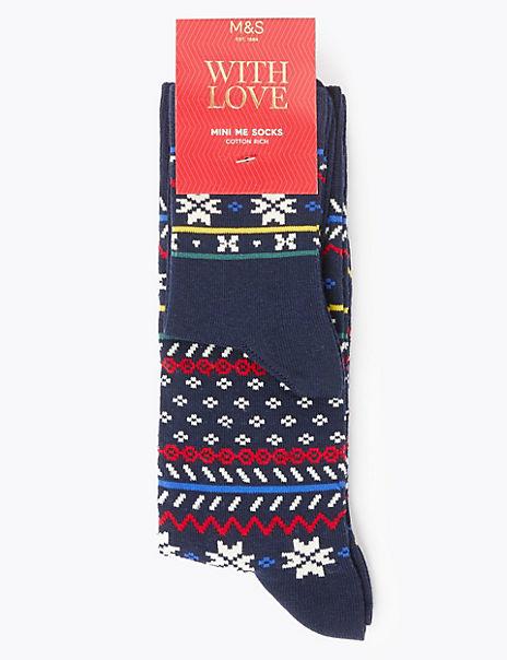 2 Pack Cotton Rich Mini Me Fair Isle Socks