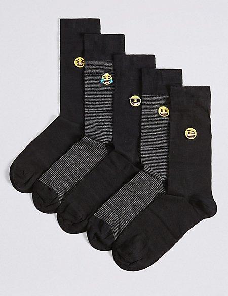 5 Pack Emoji Embroidered Socks