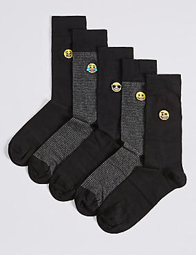 5 Pack Emoji Embroidered Socks