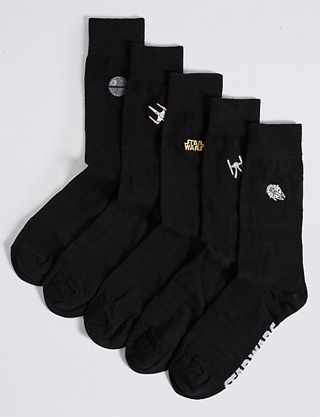 5 Pack Cotton Rich Star Wars™ Embroidered Socks