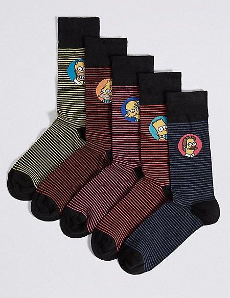 5 Pack Cotton Rich Striped Socks