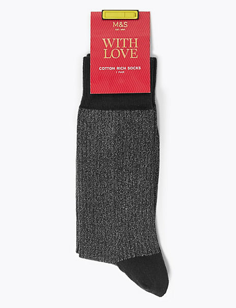 Cotton Rich Ribbed Socks